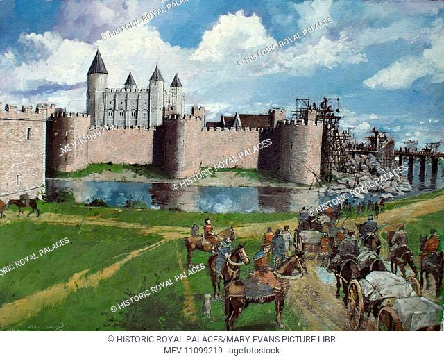 Reconstructed view of the Tower of London from the north west showing King Henry III's collapsed gateway, 1300