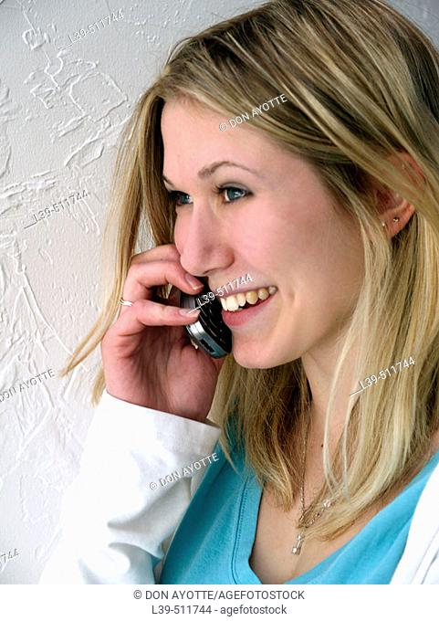Young student talking on her cell phone
