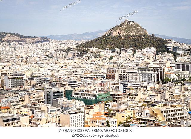 View of the city from the acropolis. Athens, Central Athens. Greece