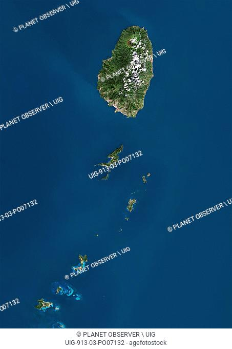Satellite view of Saint Vincent and the Grenadines. This image was compiled from data acquired by Landsat satellites