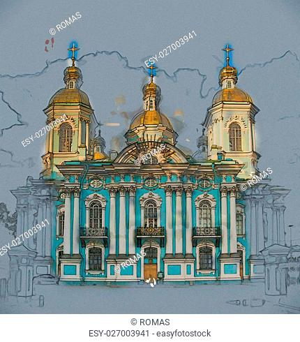 Saint Nicholas' Cathedral, Nikolsky sobor, popularly known as the Sailors' Chruch in Saint Petersburg, Russia . Vintage painting, background illustration