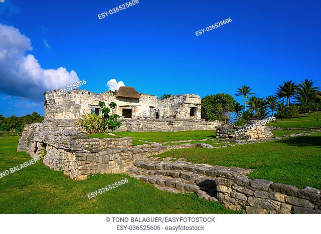 Tulum Mayan city ruins in Riviera Maya at the Caribbean of Mayan Mexico