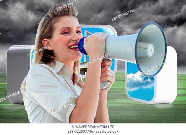 Composite image of beautiful businesswoman shouting through megaphone