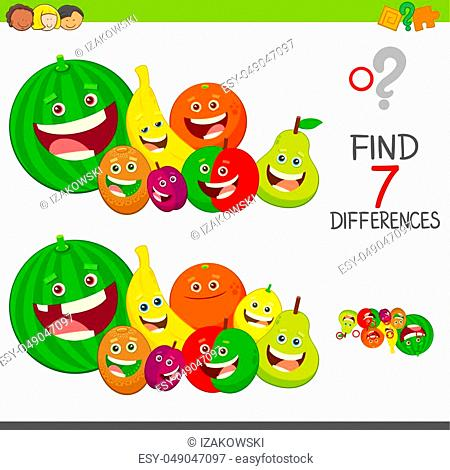 Cartoon Illustration of Finding Seven Differences Between Pictures Educational Activity Game for Children with Fruits Characters Group