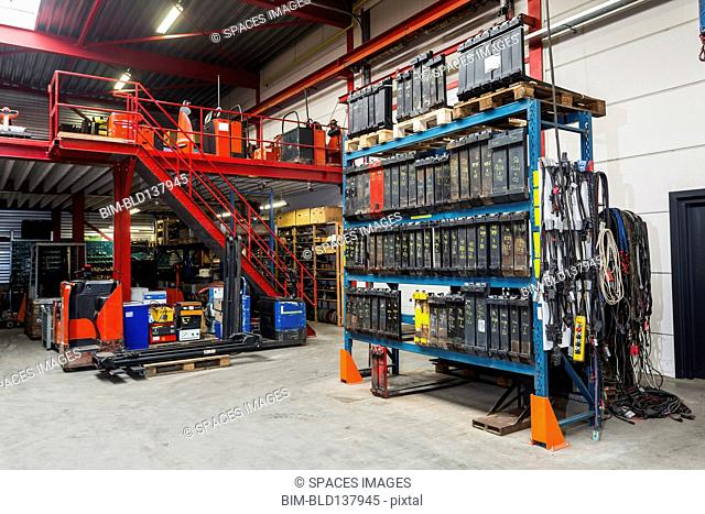 Shelves and machinery in warehouse