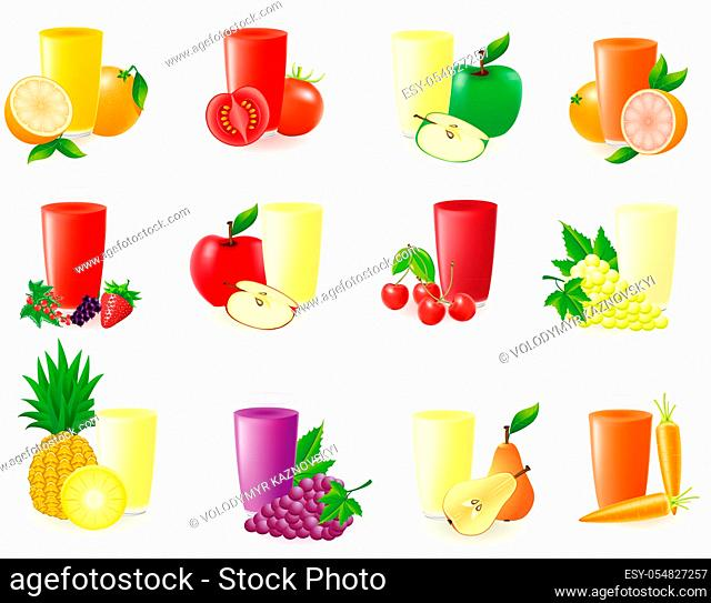 set of icons with fruit juice vector illustration isolated on white background