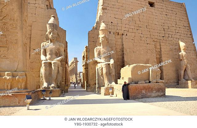 Luxor, Egypt - Colossi of Ramses II at the entrance to Luxor Temple, Upper Egypt, UNESCO
