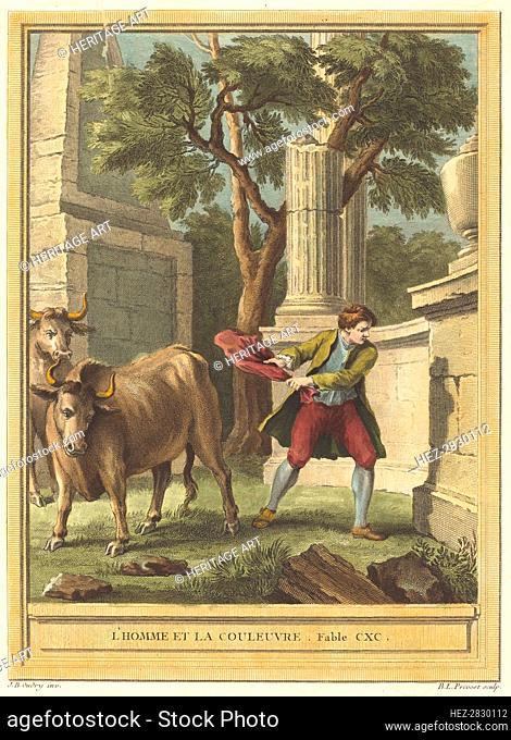 L'homme et la couleuvre (Man and the Snake), published 1759. Creator: Benoit-Louis Prevost