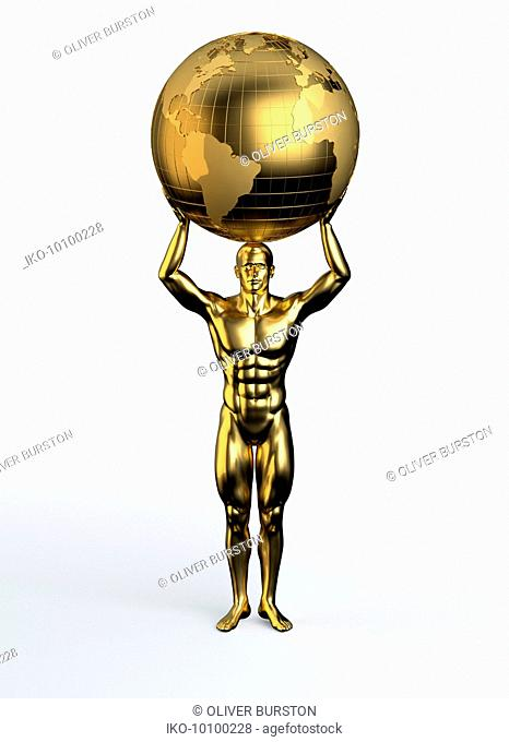 Gold statue of man holding world above head
