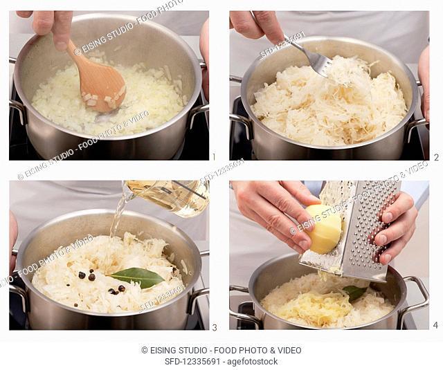 Classic sauerkraut being made