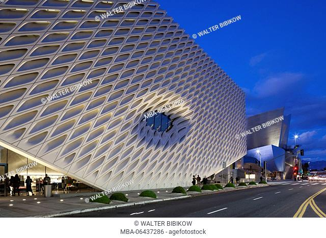 USA, California, Los Angeles, The Broad, contemporary art museum, built 2015, exterior, dusk