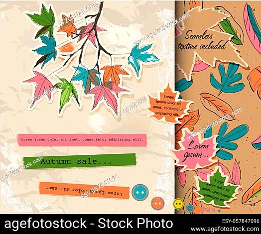 Scrapbooking set about autumn. Vector illustration EPS10