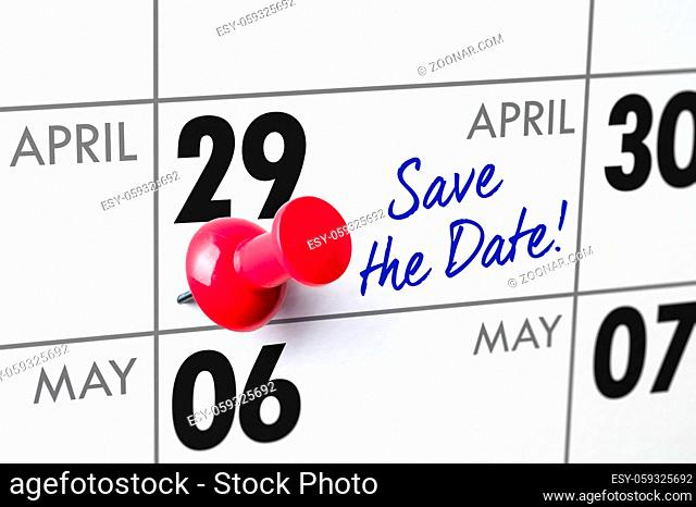 Wall calendar with a red pin - April 29