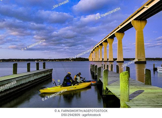SOLOMONS ISLAND, MARYLAND Bridge over Patuxent river. Boat launch