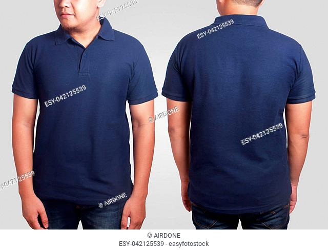 Blank polo shirt mock up, front, and back view, isolated on grey. Asian male model wear plain dark blue tshirt mockup. Clothes uniform design presentation for...