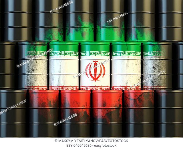 Iranian oil fuel energy concept. Iranian flag painted on oil barrels. 3d illustration
