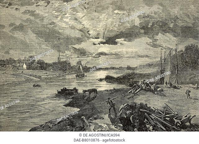 View of Govan, on the Clyde, with the mouth of the Kelvin River, as it was in 1842, United Kingdom, engraving after a watercolour by William Simpson (1823-1899)