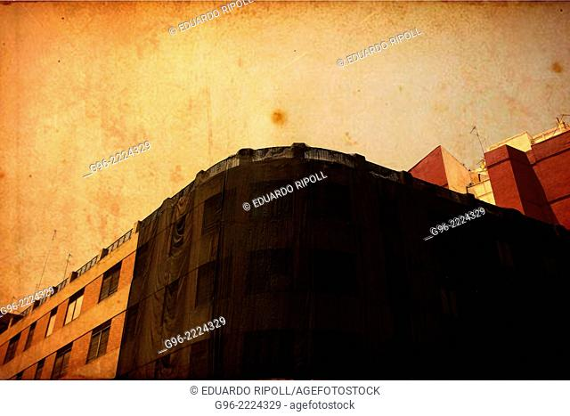 Facade of a building in Valencia, Spain, vintage picture
