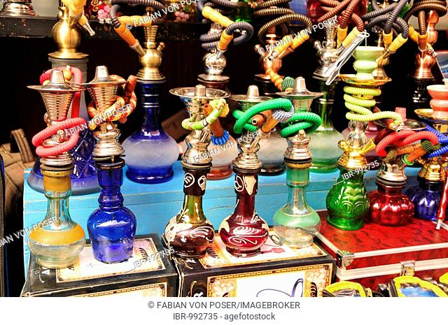 Hookahs in a shop in the souk, market, in the Medina, historic town centre, Marrakech, Morocco, Africa