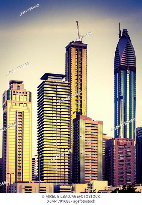 Skyscrapers in city center  Jumeirah area  Dubai city  Dubai  United Arab Emirates