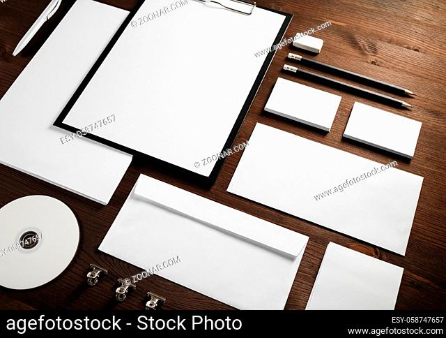Blank business stationery set on wooden background