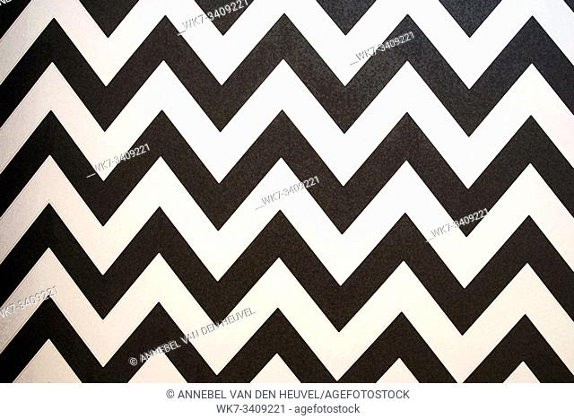 Zigzag Striped seamless pattern with horizontal line. Black and white fashion graphics design. Strict graphic background. Retro style