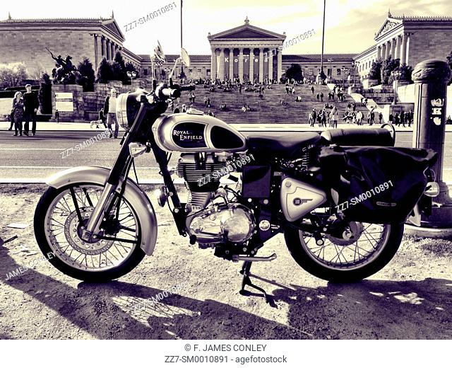 A motorcycle in front of the Philadelphia Museum of Art