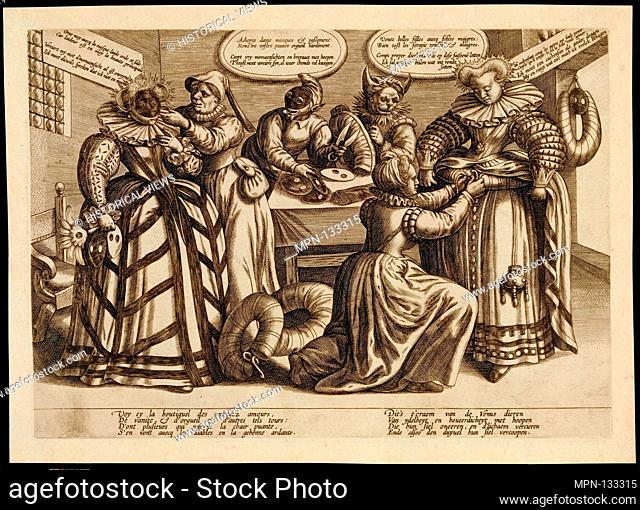 The Vanity of Women: Masks and Bustles. Artist: Attributed to Maerten de Vos (Netherlandish, Antwerp 1532-1603 Antwerp); Date: ca
