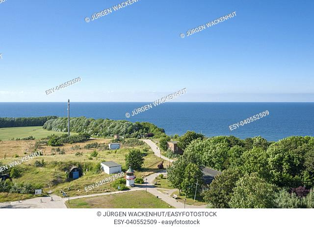 View from the new lighthouse at Cape Arkona to the Baltic Sea and the light beacon Ranzow with the NVA naval bunker, Putgarten, Rügen, Mecklenburg-Vorpommern