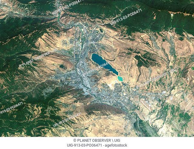 Colour satellite image of Tbilisi, Georgia. Image taken on August 28, 2014 with Landsat 8 data
