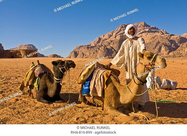 Bedouin with his camels in the stunning scenery of Wadi Rum, Jordan, Middle East