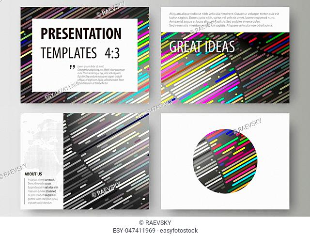 Set of business templates for presentation slides. Easy editable abstract vector layouts in flat design. Colorful background made of stripes