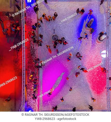 Ice Skating rink, Reykjavik, Iceland. This image is shot using a drone