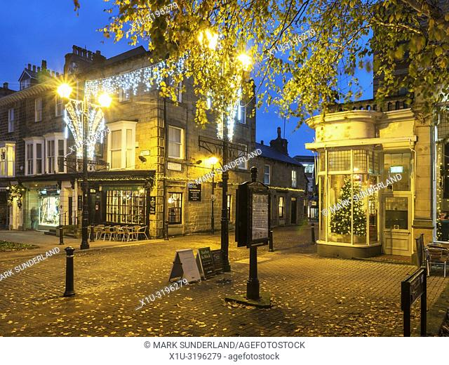 Autumn leaves and Christmas lights in the Montpellier Quarter at Harrogate North Yorkshire England