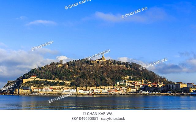 Landscape view of the Old Town and mount Urgull in San Sebastian, Spain
