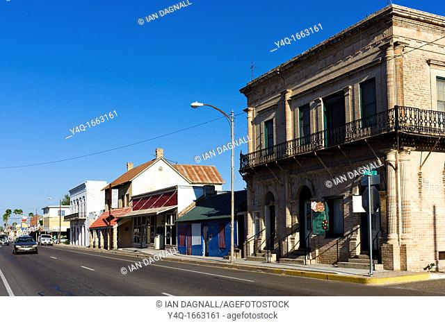 The Main Street through the border town of Rio Grande City on Highway 83 between Brownsville and Laredo, Texas, USA