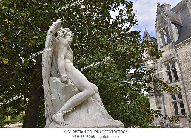''Fallen angel'' by Italian sculptor Constantin Corti (1823-1873), statue in the park of the Chateau of Montresor, Touraine, department of Indre-et-Loire