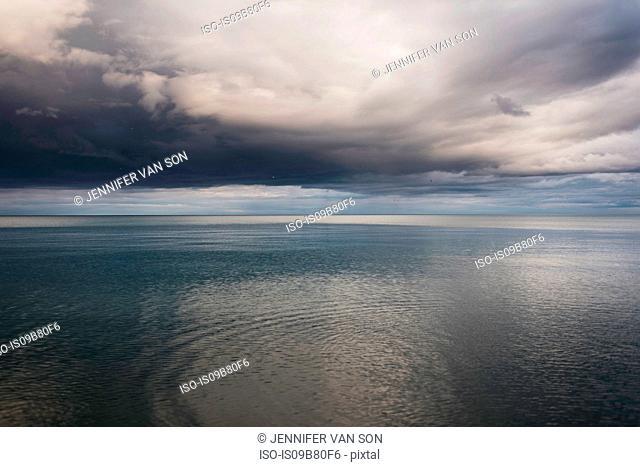 Lake and dramatic stormy sky, Oshawa, Canada