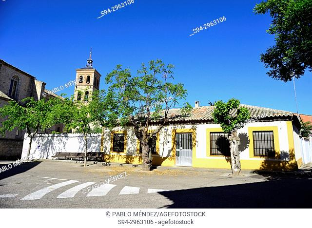 Church of San Pedro and square in Noves, Toledo, Spain