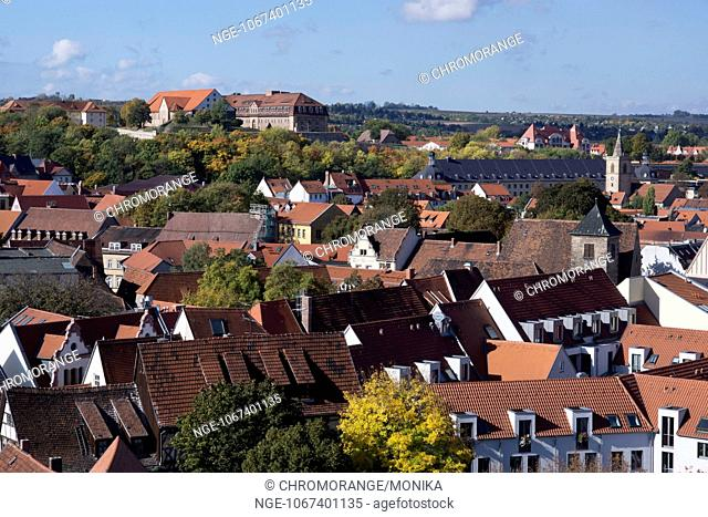 View from the tower of the Aegidienkirche Church of St Aegidius across Erfurt, in the background the Citadel on Petersberg, Erfurt, Thuringia, Germany, Europe
