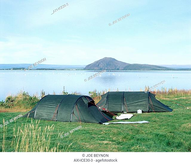 Two tents beside Lake Myvatn, Iceland