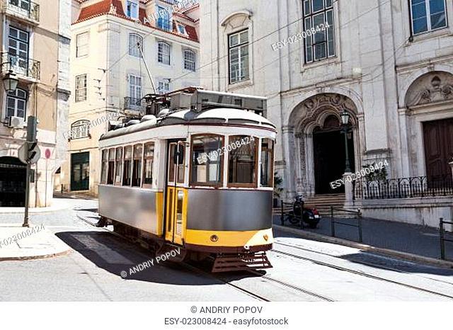 Classic Tram Moving On Street