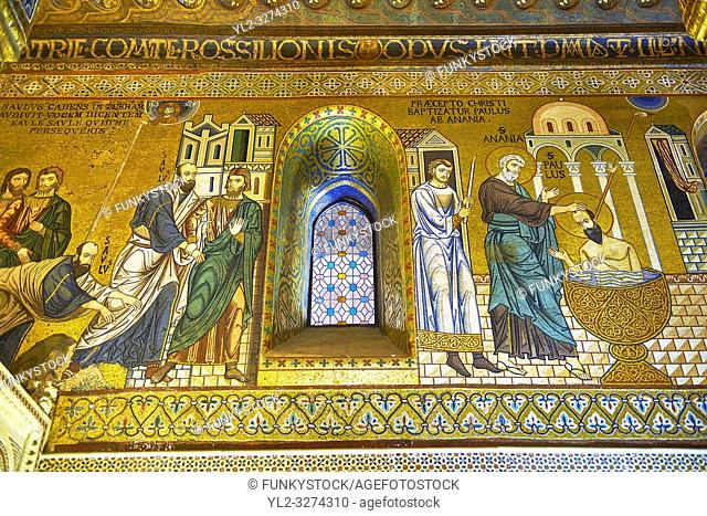 Medieval Byzantine style mosaics of the Life of St Paul in the Palatine Chapel, Cappella Palatina, Palermo, Italy