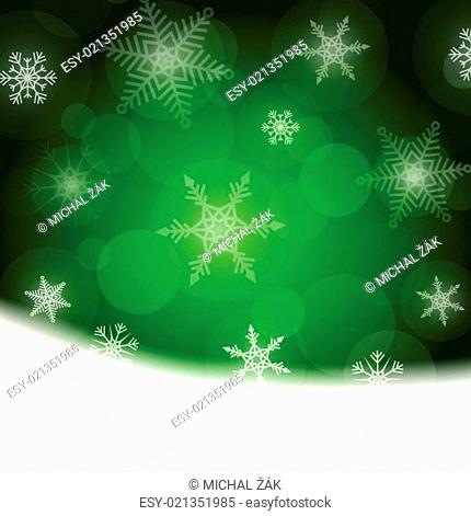 Christmas background - green with white snowflakes