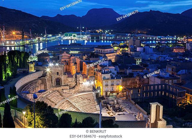 Roman Theatre and panorama of Cartagena. Cartagena, Murcia, Spain