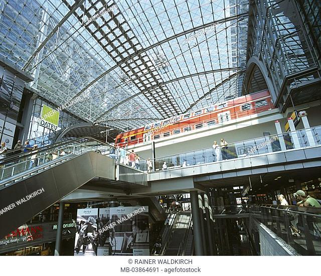 Germany, Berlin, main train station, indoors, concourse, people, escalators, local train, city, capital, buildings, Lehrter railway station, reconstruction