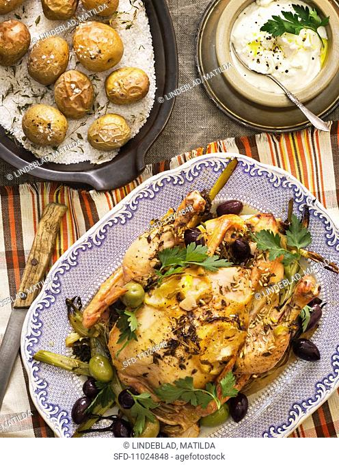 Chicken with fennel and olives