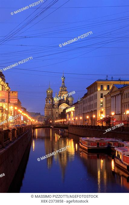 The Church of the Savior on Blood on the Griboedov Canal at dusk, Saint Petersburg, Russia