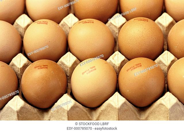 Brown eggs in egg boxes filling the picture