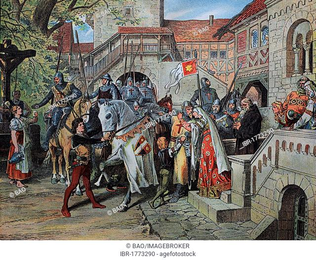 Departure to the crusade, historic lithograph, ca 1880